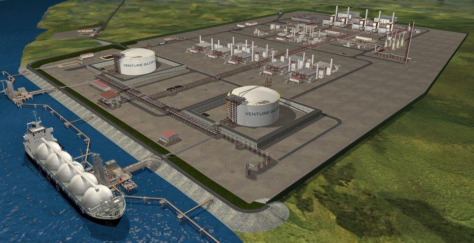 Amerykańska Federalna Komisja Regulacji Energii (FERC) w piątek nocą polskiego czasu ogłosiła, że wydała spółce Venture Global LNG zezwolenie na budowę w Luizjanie terminalu Calcasieu Pass do eksportu skroplonego gazu LNG (na wizualizacji powyżej)