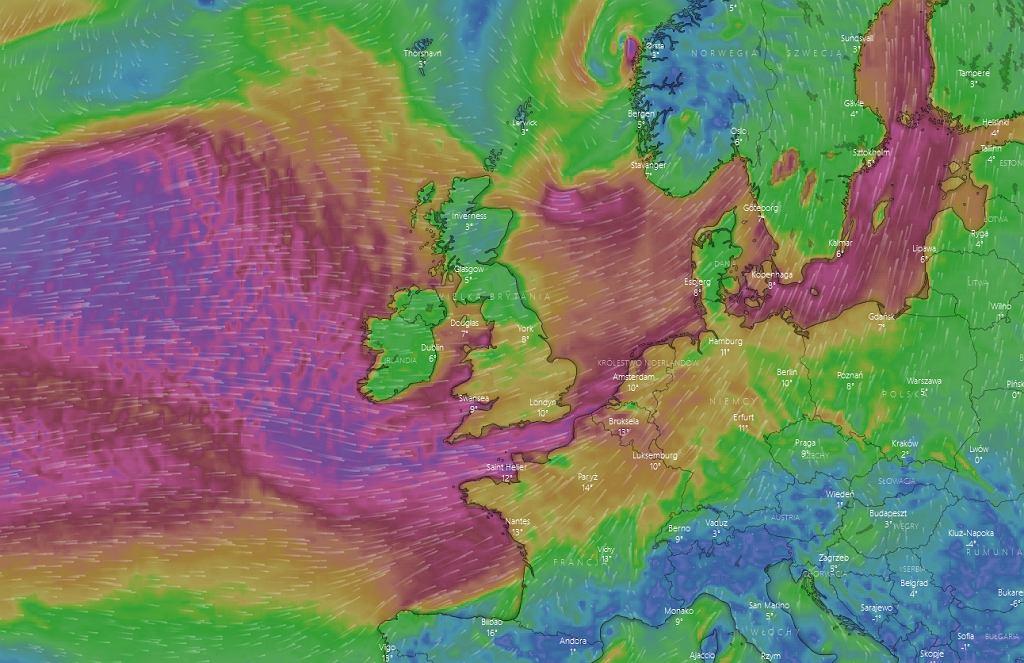Sztorm Ciara. Prognoza dotycząca wiatru na niedzielę 9 lutego, godz. 22:00