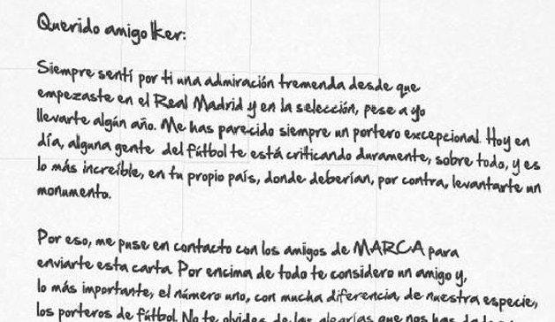 List Jose Luisa Chilaverta do Ikera Casillasa