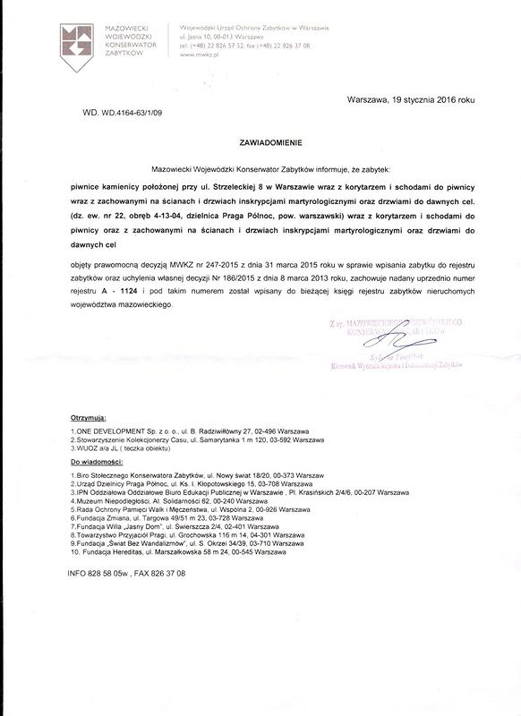 Pismo MWKZ w sprawie byłej katowni UB przy ul. Strzeleckiej 8 w Warszawie.