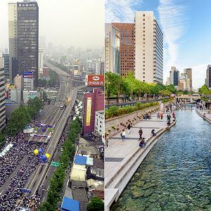 Seul. Korea Południowa. Po lewej autostrada, która została zburzona, a w jej miejscu odtworzono dawną rzekę Cheonggyecheon. Strumień ma 9 km długości i kompletnie odmienił dzielnicę
