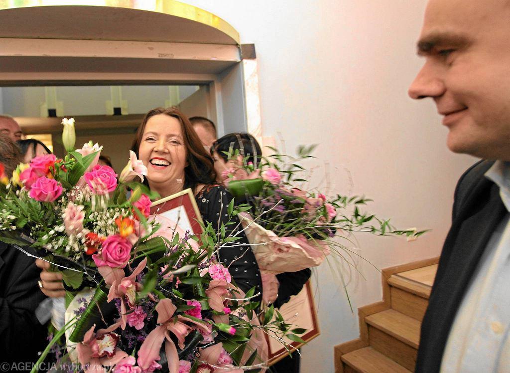 Joanna Lichocka odbierająca nagrodę za film ''Pogarda''