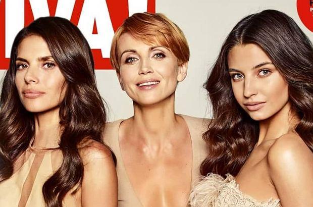 """Julia Wieniawa, Weronika Rosati i Katarzyna Zielińska pojawiły się na okładce magazynu """"Viva!"""". Ich sesja spotkała się z nieprzychylnym przyjęciem internautów. Powód? nadmierne użycie Photoshop i za duża sukienka."""