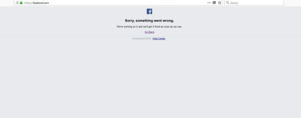 Awaria Facebooka