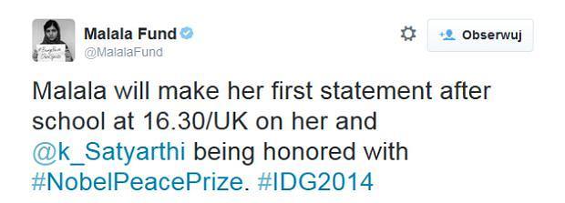 Laureatka pokojowego Nobla wyda oświadczenie... po powrocie ze szkołu. Wpis fundacji założónej przez Malalę Yousafzai