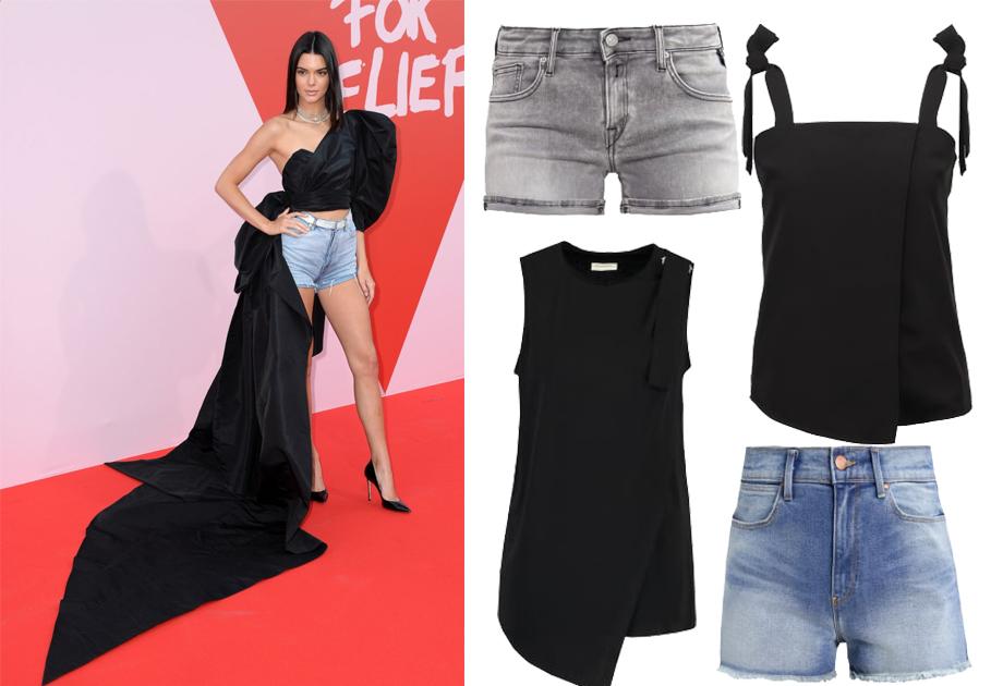 Kendall Jenner w jeansowych szortach