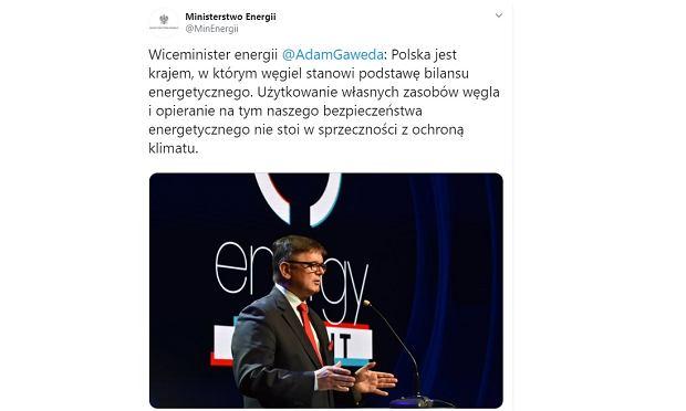 Usunięty wpis z wypowiedzią wiceministra energii
