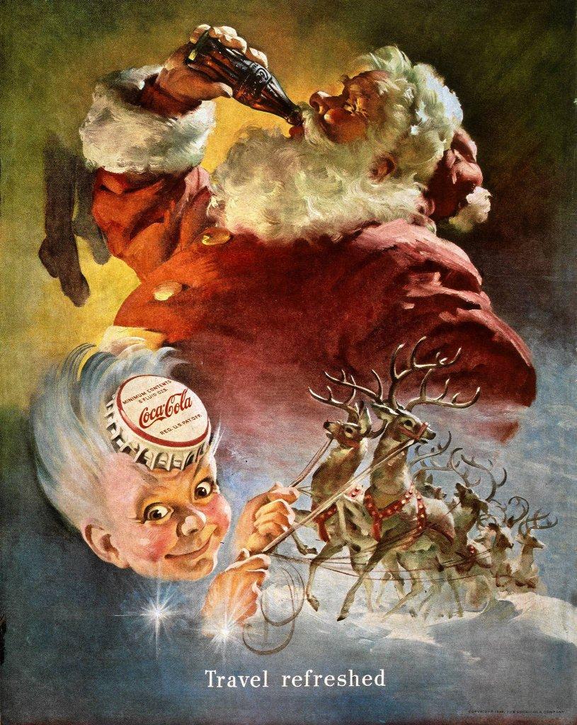 Plakat reklamowy Coca Coli z 1949 r. To ta firma rozpropagowała komercyjny wizerunek świętego Mikołaja: grubasa z zaprzęgiem reniferów