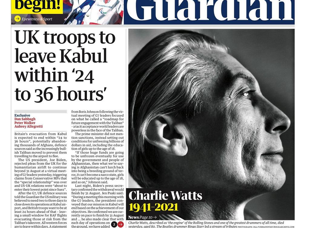 Charlie Watts nie żyje - okładka The Guardian