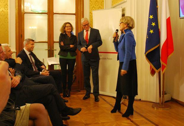 Danuta Huebner podczas gali z okazji 70. urodzin Włodzimierza Lubańskiego