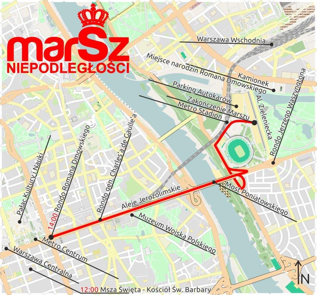 Trasa Marszu Niepodległości 2015
