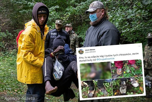 Reporter pokazał, w jakich butach szli migranci