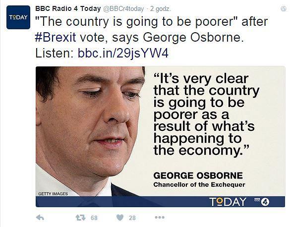 George Osborne o konsekwencjach Brexitu