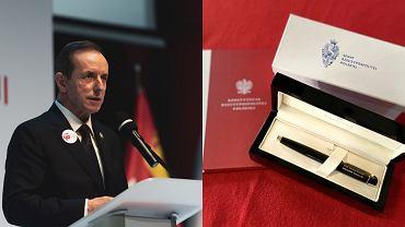 Pióro i egzemplarz Konstytucji z dedykacją od marszałka Senatu, Tomasza Grodzkiego