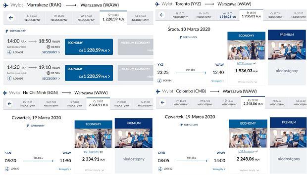 Ceny lotów do domu PLL LOT