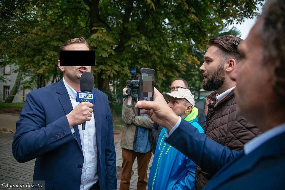 Łukasz S. podczas realizacji materiału nagrywany przez Jacka Karnowskiego, prezydenta Sopotu.