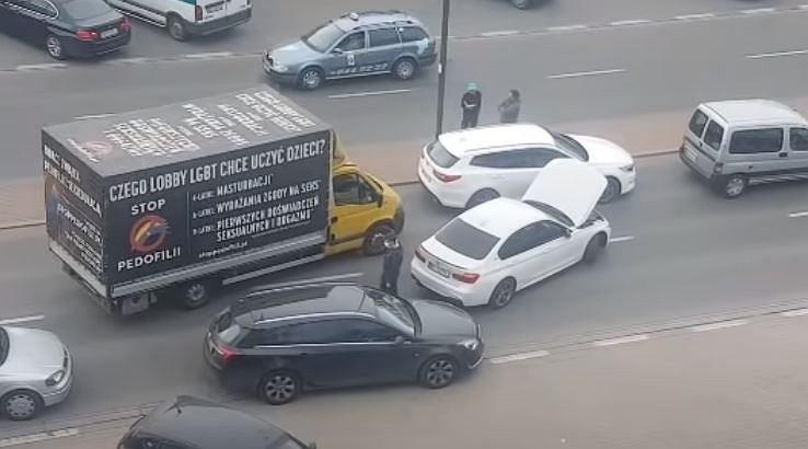 Ursynów. Zatrzymanie furgonetki z hasłami pro-life
