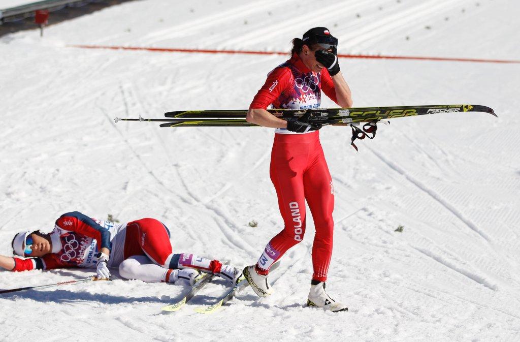Marit Bjoergen i Justyna Kowalczyk po biegu na 10 km