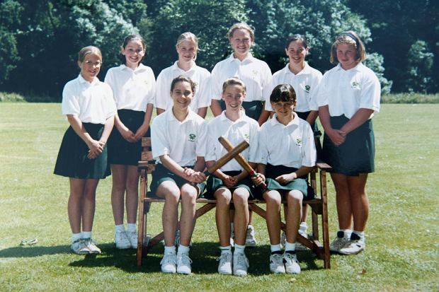 Britain's Catherine Duchess of Cambridge (front row L) is seen in this image taken of an undated sports team photograph, while she was attending St. Andrew's Preparatory School, which she was enrolled in from 1986 to 1995, near Pangbourne in Berkshire, southern England November 30, 2012.   REUTERS/Arthur Edwards/Pool (BRITAIN - Tags: ENTERTAINMENT EDUCATION ROYALS) FOR EDITORIAL USE ONLY. NOT FOR SALE FOR MARKETING OR ADVERTISING CAMPAIGNS