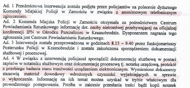Dokument zamojskiej policji