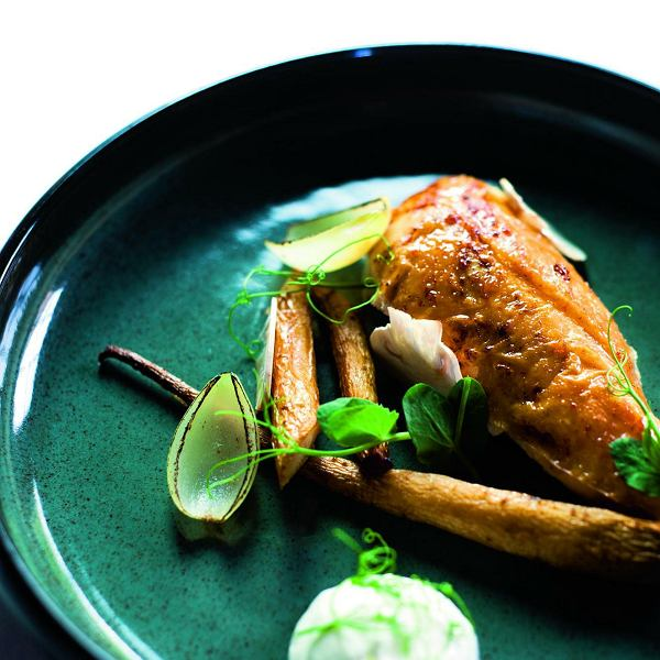 Pierś kurczaka zkarmelizowaną pietruszką, piklowaną paloną cebulką, purée chrzanowo-maślankowym ipędami groszku