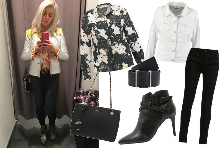 Instagram @ciocialiestyle, białą kurtka, kolorowa koszula, czarne jeansy