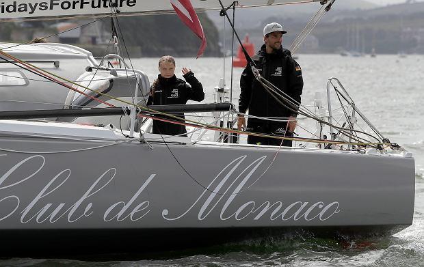 Greta Thunberg na pokładzie jachtu Malizia II, wypływającego z Plymouth do Nowego Jorku.