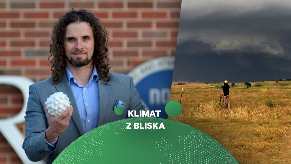 Dr Mateusz Taszarek. Z prawej strony wysokoopadowa superkomórka burzowa z 22 maja 2020 roku w rejonie Burkburnett (Teksas, USA). Burza wygenerowała opady gradu wielkości grejfrutów (średnica ~15 cm).
