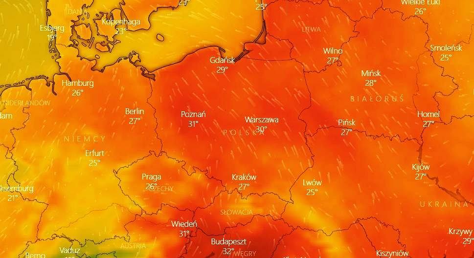 Pogoda. Upały wracają - nad Polskę nadciąga zwrotnikowe powietrze i gwałtowne burze