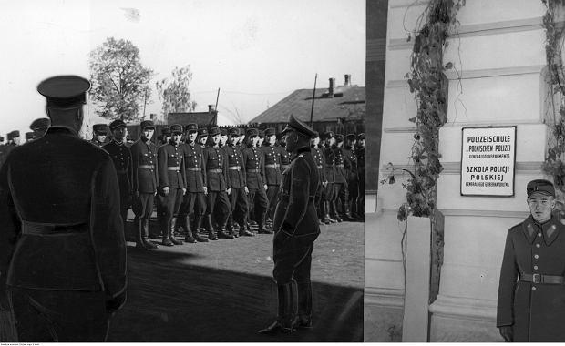 Szkoła policji polskiej (granatowej) w Nowym Sączu - fotomontaż składający się z dwóch części. Po lewej stronie gen. Winkler przemawia do policjantów podczas uroczystości otwarcia szkoły. Po prawej stronie widoczna umieszczona na budynku tablica z napisem 'Szkoła policji polskiej Generalnego Gubernatorstwa' i stojący przed budynkiem policjant, październik 1941 r.