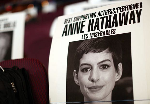 A seating placard of actress Anne Hathaway for 85th Academy Awards is seen inside the Dolby Theatre in Los Angeles, Thursday, Feb. 21, 2013. The Academy Awards will be held Sunday, Feb. 24, 2013. (Photo by Matt Sayles/Invision/AP)