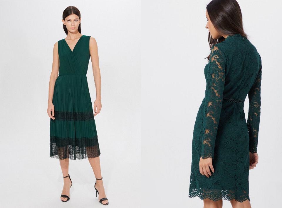 Sukienka butelkowa zieleń z koronką