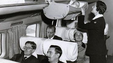 'Skycots' - podniebne hamaki, w których w latach 50. podróżowali najmłodsi