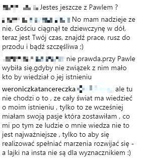 Komentarze na profilu Weroniczki Tancereczki