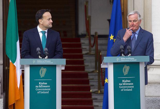 Brexit. Premier Irlandii Leo Varadkar i Michel Barnier, negocjator ds. brexitu z ramienia UE