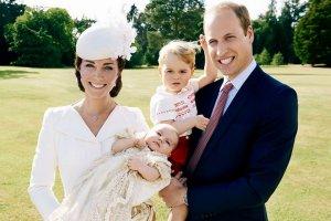 Księżna Kate, książę William, księżniczka Charlotte i książę Geogre