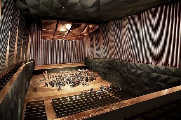 Wizualizacja wnętrza sali koncertowej