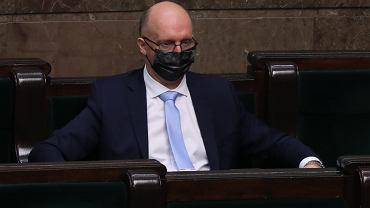 Piotr Wawrzyk podczas głosowania nad jego kandydaturą na urząd Rzecznika Praw Obywatelskich. Warszawa, Sejm, 21 stycznia 2021