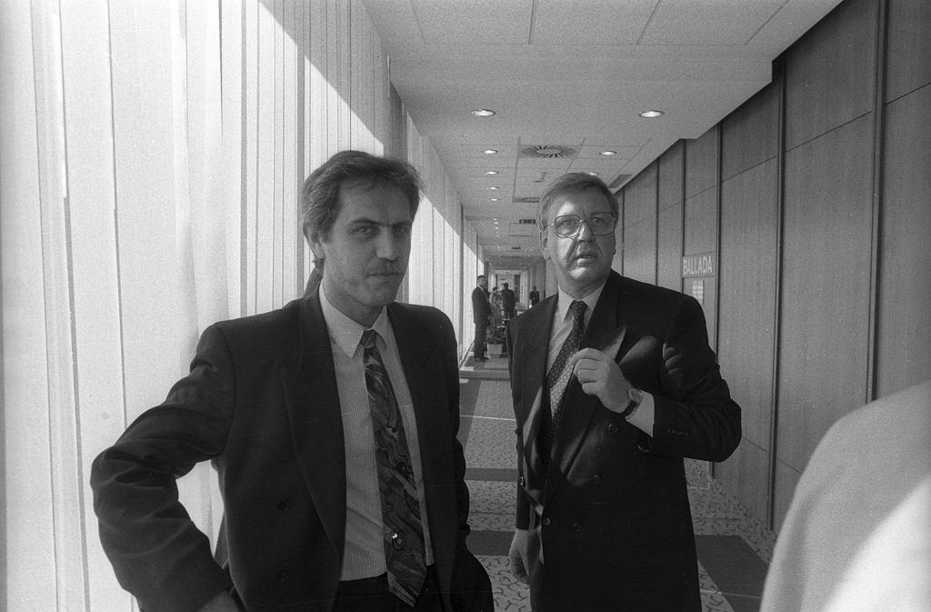 Zygmunt Solorz i Marek Markowski w Polsacie, 1994 r.