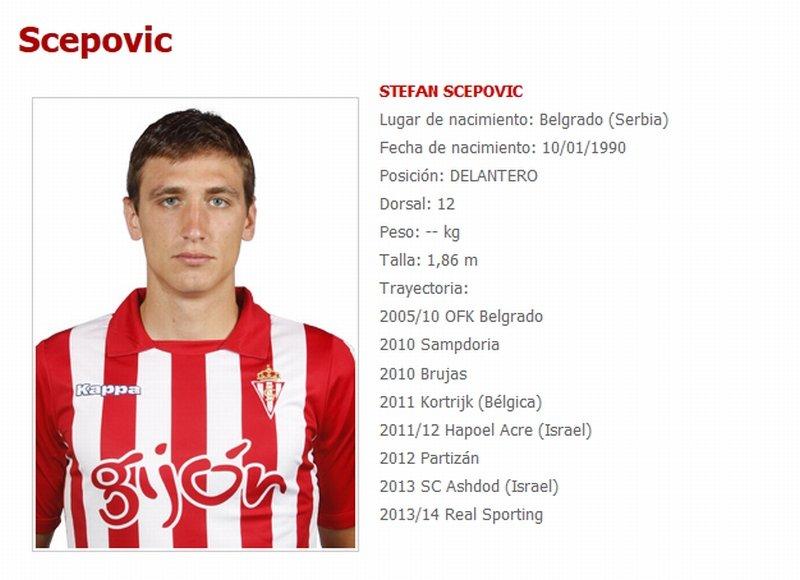 Stefan Scepović na stronie Sportingu Gijon