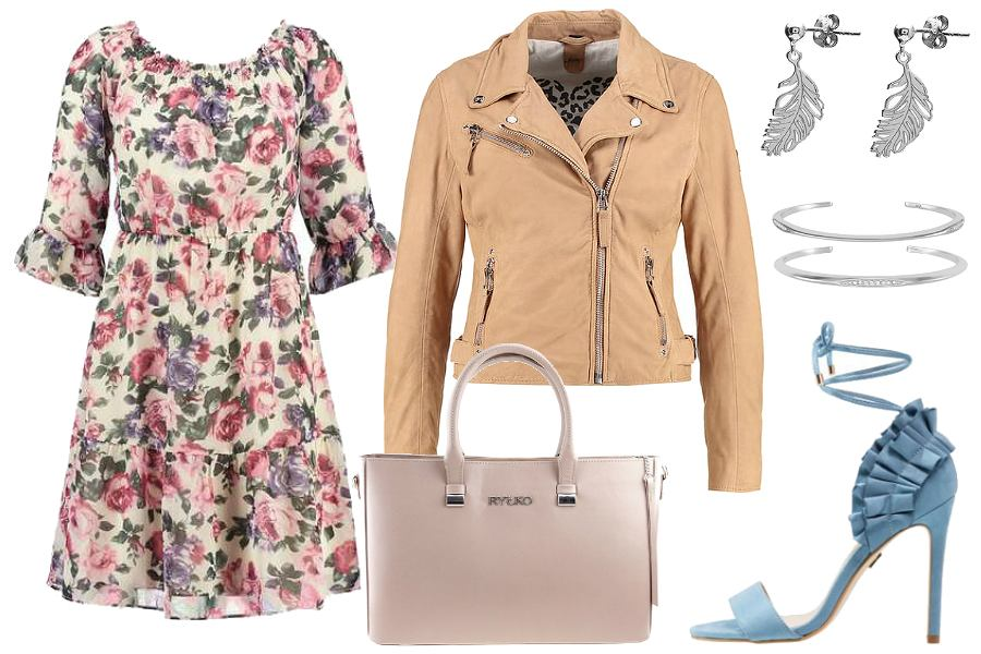 Wiązane sandały i sukienka w kwiaty / kolaż: mat. partnera