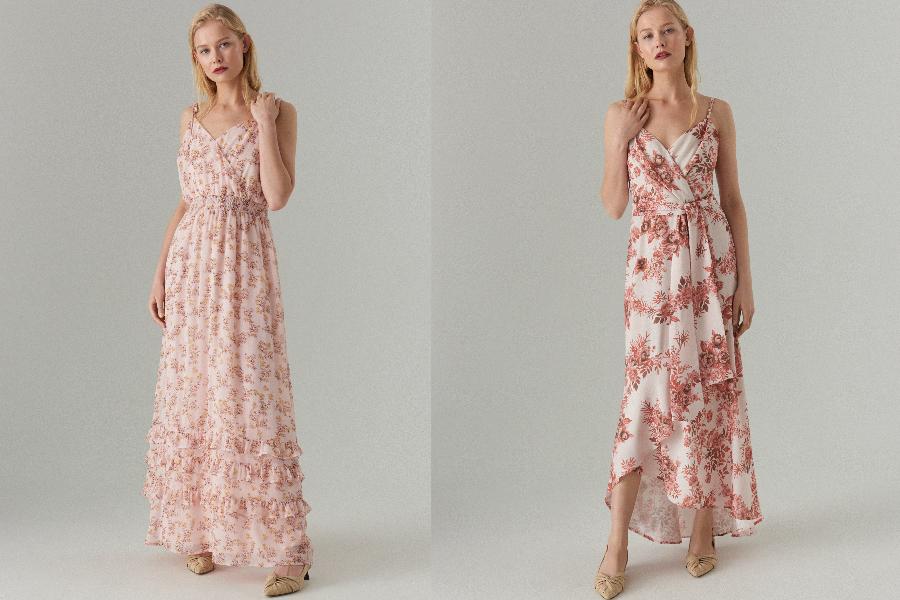 długie sukienki w kwiaty