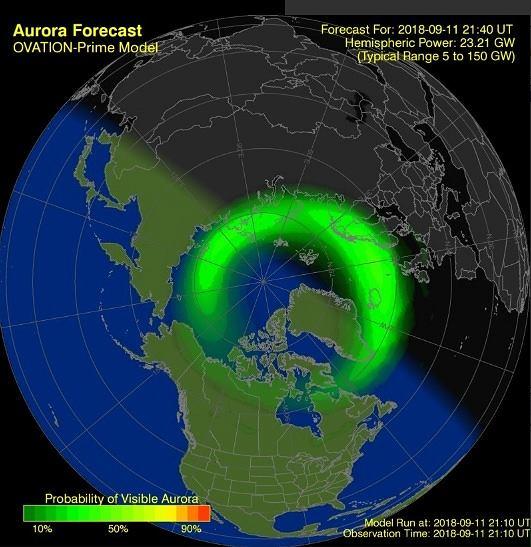 Widoczność zorzy polarnej na świecie w dniu 11 września 2018 roku