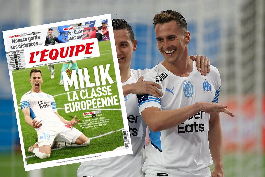 Arkadiusz Milik na okładce 'L'Equipe'. 'Klasa europejska'