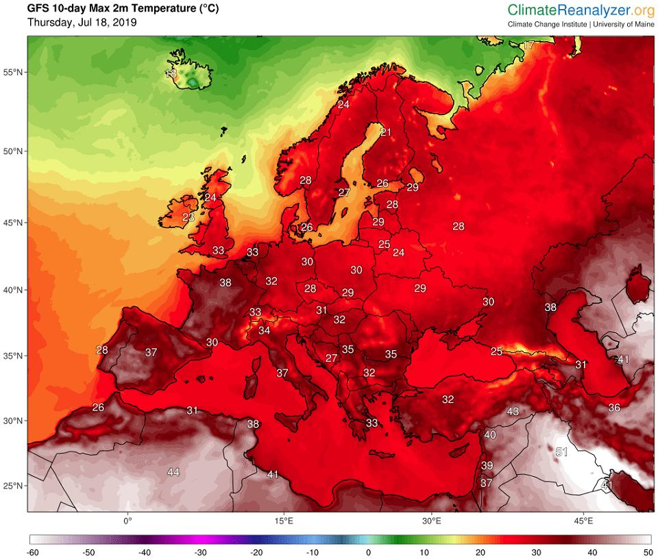 Prognoza pogody - temperatura maksymalna w Europie - na najbliższe 10 dni