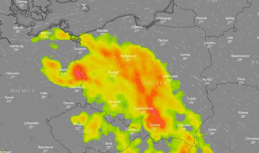 Burze w Polsce - piątek 26 czerwca