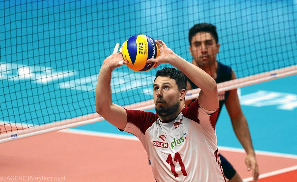 Fabian Drzyzga podczas meczu mistrzostw świata w siatkówce we Włoszech