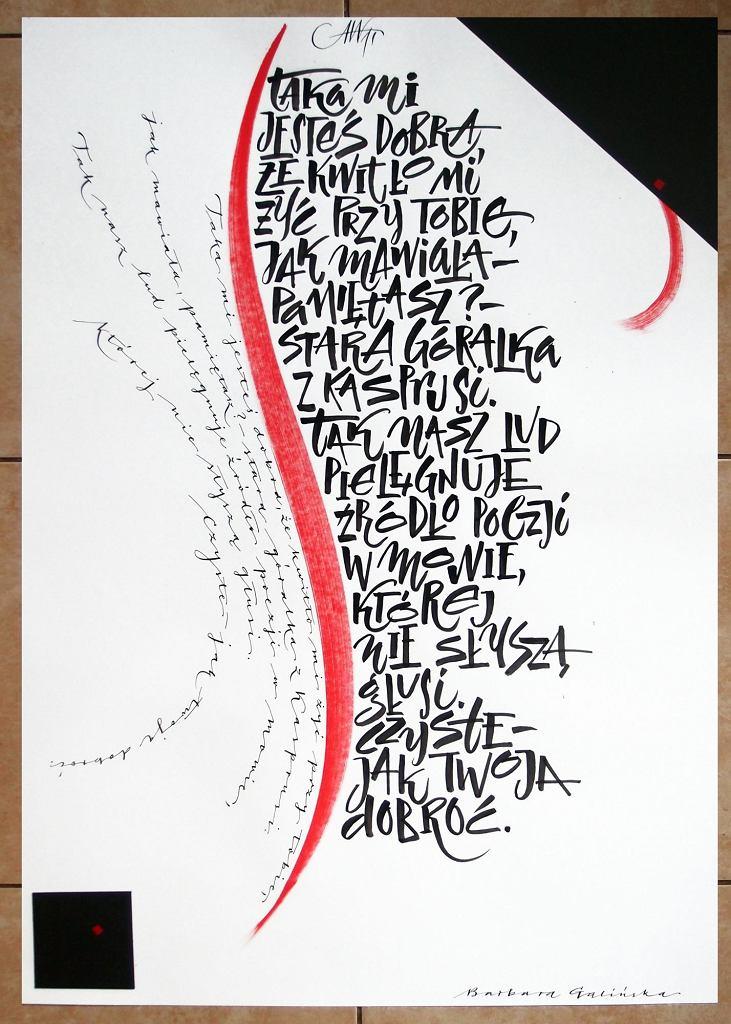 Wiersz Aleksandra Wata, kaligrafia Barbara Galińska / materiały promocyjne