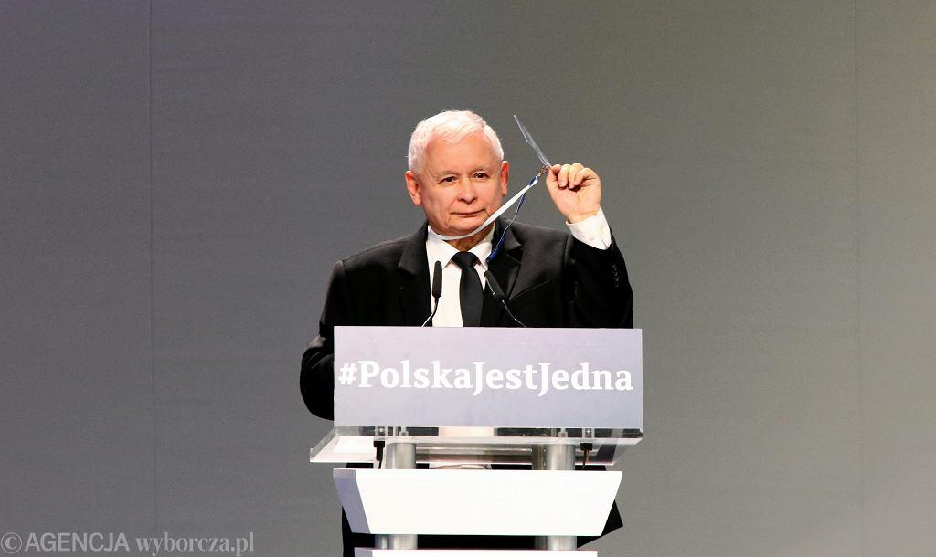 Jarosław Kaczyński podczas kongres programowego PIS-u w 2017 r.