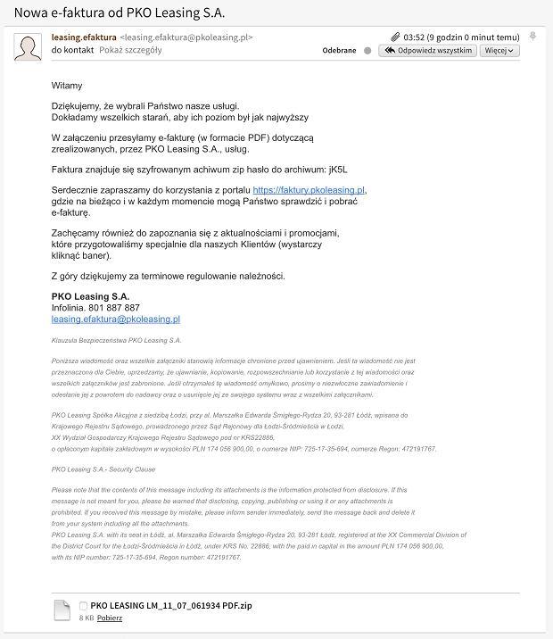 Fałszywa faktura od PKO Leasing